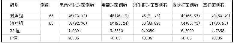 表2两组患者自治疗后的厌氧菌除率比较(即,%)